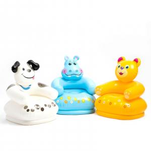 """68556 Надувное детское кресло 65х64х74см """"Веселые животные"""" 3 вида, от 3 до 8 лет"""