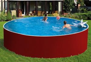 Сборный бассейн ЛАГУНА 48816 круглый 488х125 см (красный)