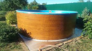 Сборный бассейн ЛАГУНА 36613 круглый 366х125 см (светлое дерево)