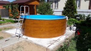 Сборный бассейн ЛАГУНА 30513 круглый 305х125 см (светлое дерево)